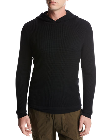 Vince Double-Layer Super Wool Hoodie, Black