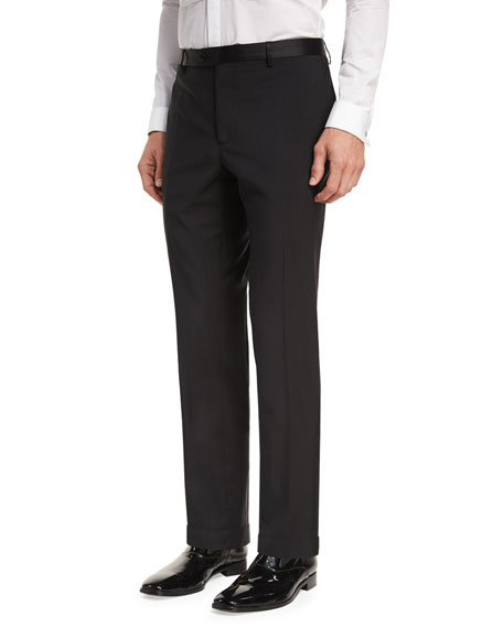 Etro Wool Satin-Trim Tuxedo Pants
