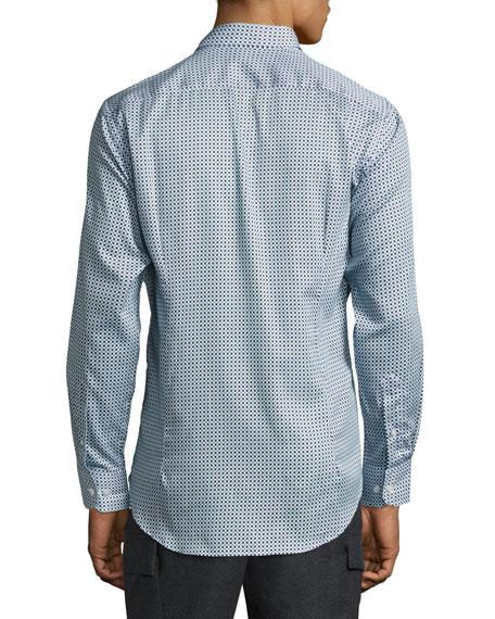 Geometric-Print Cotton Shirt, Blue/White