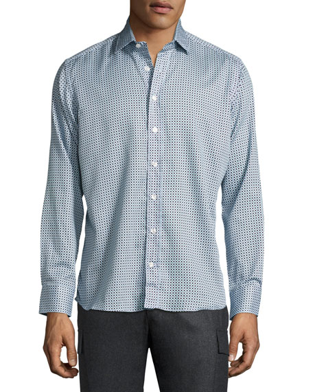 Etro Geometric-Print Cotton Shirt, Blue/White
