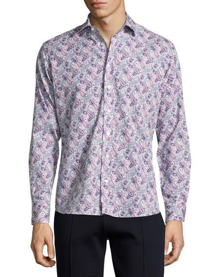Etro Paisley-Print Cotton Shirt, Navy/White/Magenta
