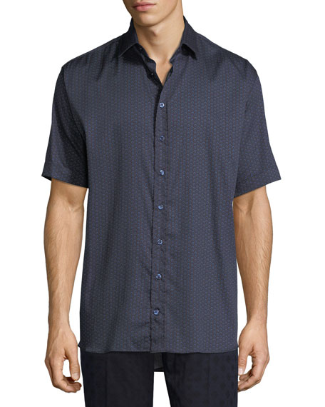 Etro Circle-Print Cotton Short-Sleeve Shirt