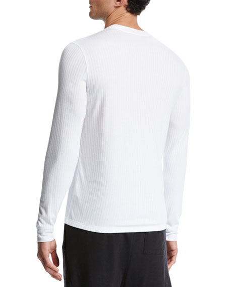 Flat-Back Ribbed Long-Sleeve Crewneck T-Shirt, White