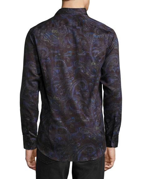 Multi Paisley-Print Long-Sleeve Sport Shirt, Purple