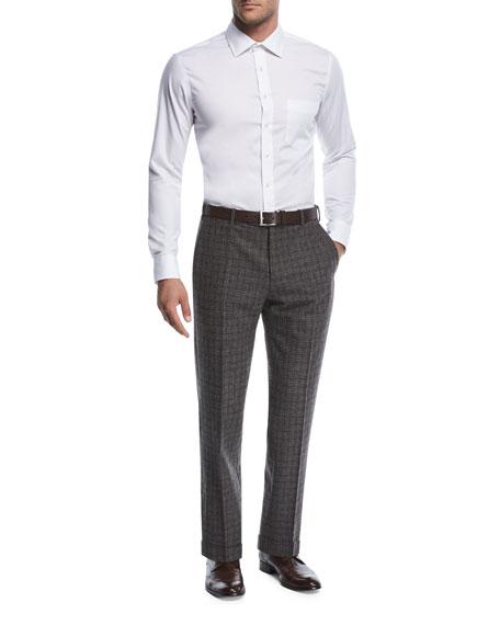 Windowpane Melange Wool/Silk Trousers