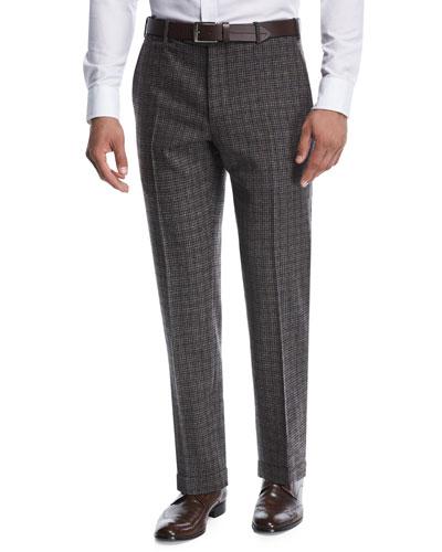 Windowpane Melangé-Knit Trousers