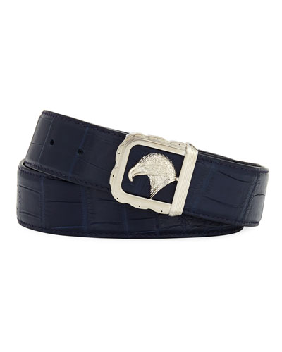 Eagle-Buckle Crocodile Belt, Blue