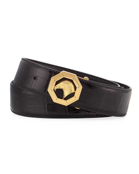 Crocodile Golden Eagle-Buckle Belt