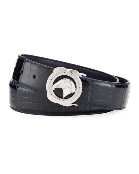 Crocodile Palladium Eagle-Buckle Belt