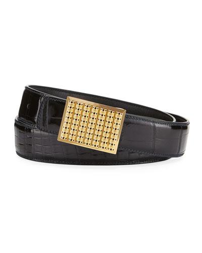 Crocodile Buckle Belt, Black