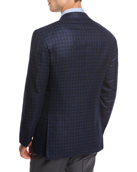 Check Cashmere Sport Coat, Blue