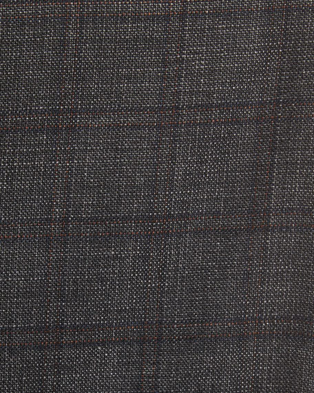Windowpane Cashmere-Silk-Linen Sport Coat, Gray/Camel