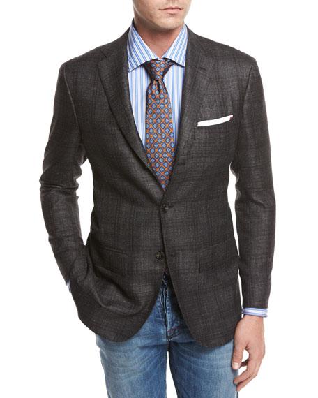 Windowpane Cashmere-Silk-Linen Sport Coat, Gray/Camel
