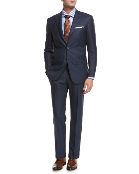 Tonal-Stripe Wool Two-Piece Suit, Blue