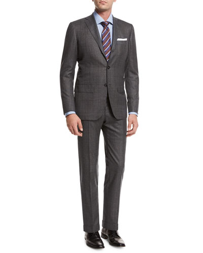 Windowpane Tic Wool Two-Piece Suit, Gray