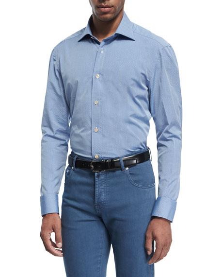 Kiton Tonal Diamond Cotton Shirt