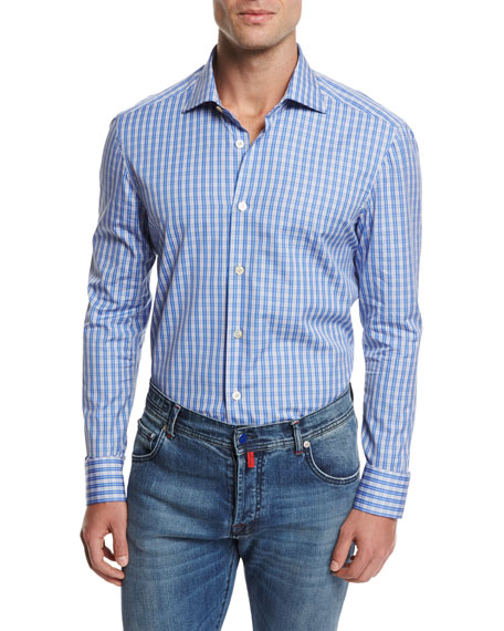Kiton Plaid Cotton Shirt, Blue