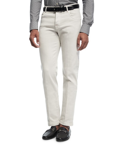 KITON Washed Corduroy Pants, Light Camel/Ivory in White