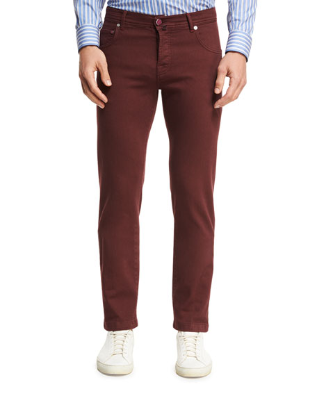 Kiton Twill Five-Pocket Pants, Red