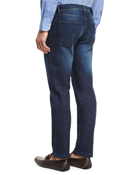 Medium Wash Denim Straight-Leg Jeans