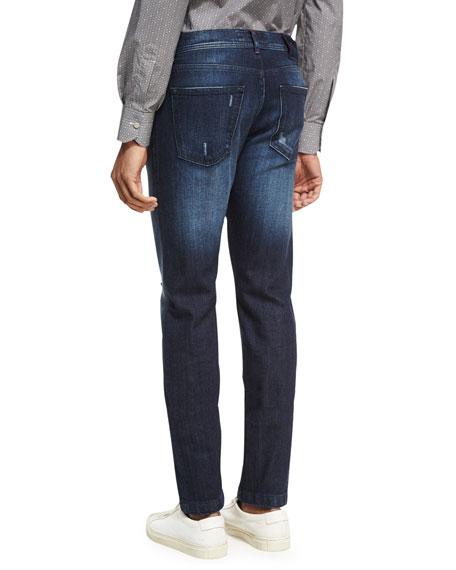 Distressed Denim Straight-Leg Jeans