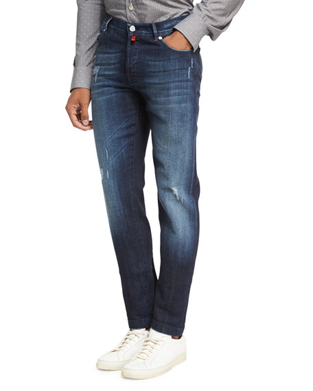 Kiton Distressed Denim Straight-Leg Jeans