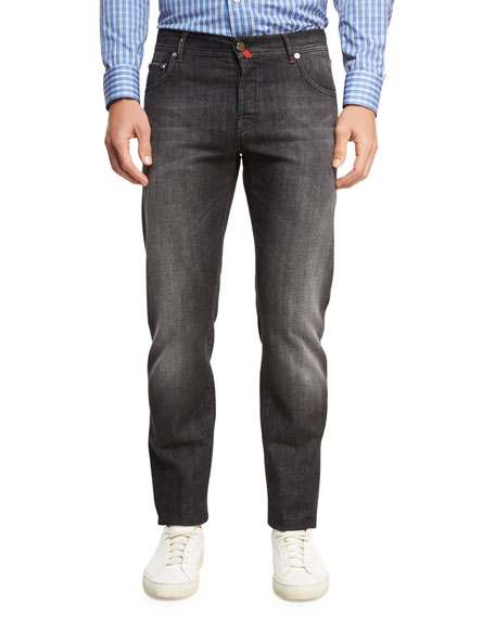 Kiton Washed Denim Straight-Leg Jeans