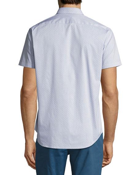 Zack S. Grid Dobby Short-Sleeve Shirt, Navy