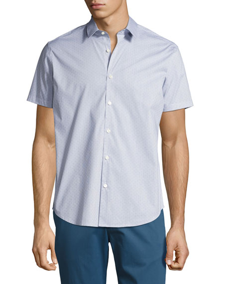 Zack S. Grid Dobby Short-Sleeve Shirt, Navy