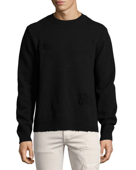 Valentino Distressed Side-Slit Wool-Cashmere Sweater, Black