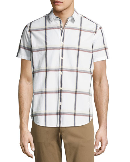 Zack S. Raised Plaid Short-Sleeve Shirt, Multi