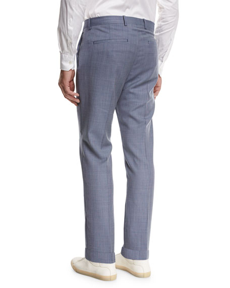 Jake W Cross-Stitch Wool Slim-Fit Suiting Trousers, Blue