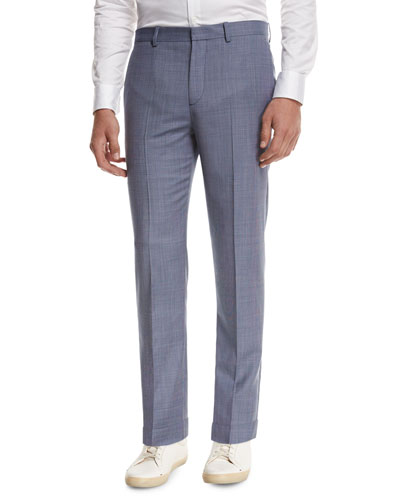 Jake W Cross-Stitch Wool Slim-Fit Suiting Trousers, Blue