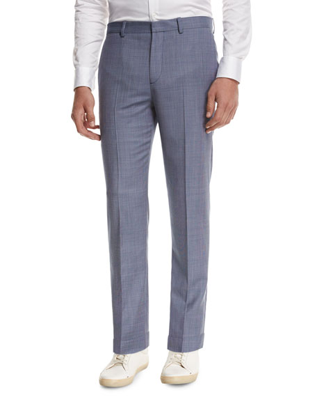 Theory Jake W Cross-Stitch Wool Slim-Fit Suiting Trousers,