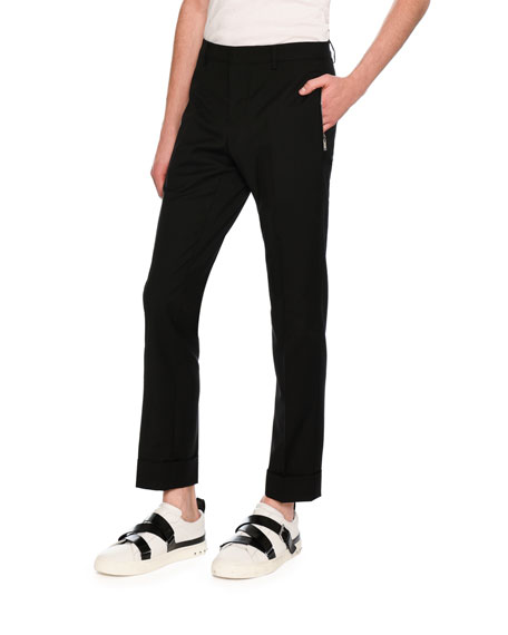 Zip-Pocket Slim-Straight Pants, Black