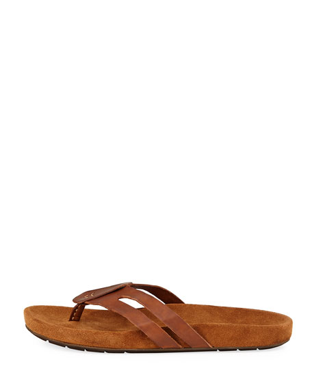 Artisan Leather Thong Sandal, Brown