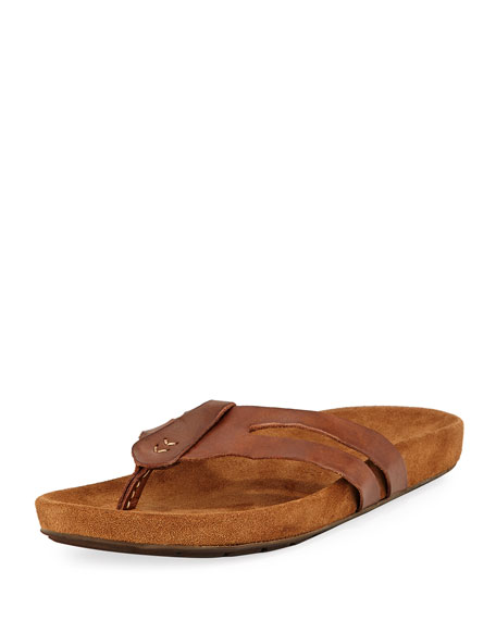 John Varvatos Artisan Leather Thong Sandal, Brown