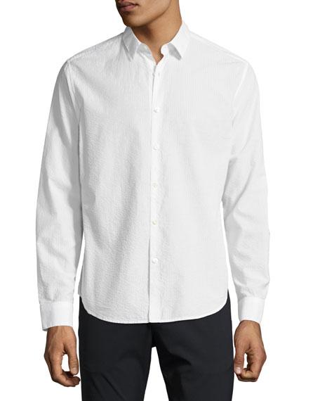 Zack Seersucker Cotton Shirt, White