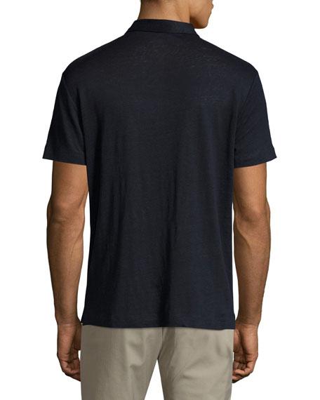 Zephyr Linen Short-Sleeve Shirt, Navy