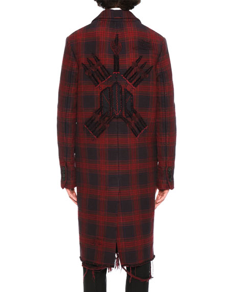Love Blade Distressed Plaid Single-Breasted Overcoat, Navy