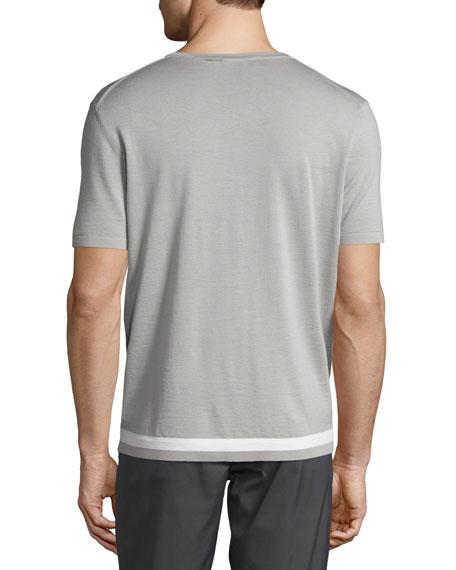 Tevez New Sovereign Short-Sleeve Wool Sweater, Gray