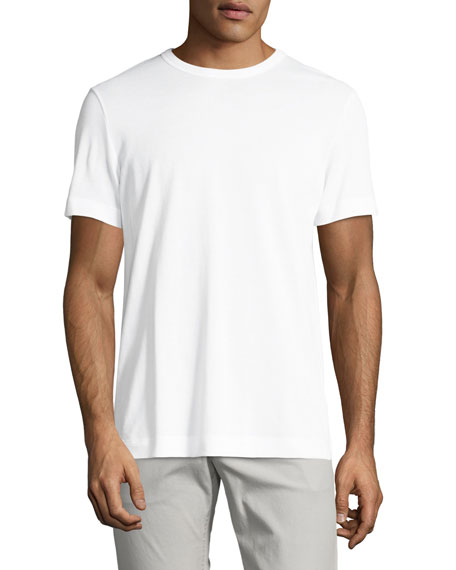 THEORY Gaskell N. Air Pique Crewneck T-Shirt, White at Neiman Marcus