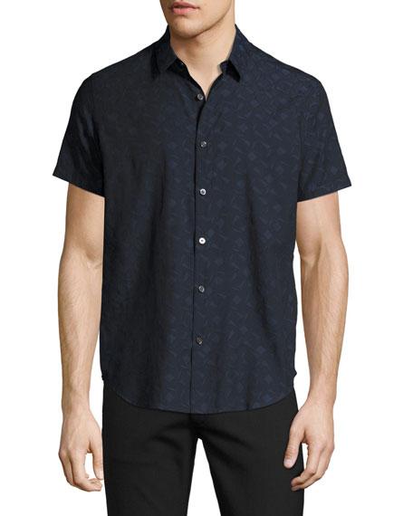 Zack S. Geo-Jacquard Short-Sleeve Shirt, Multi