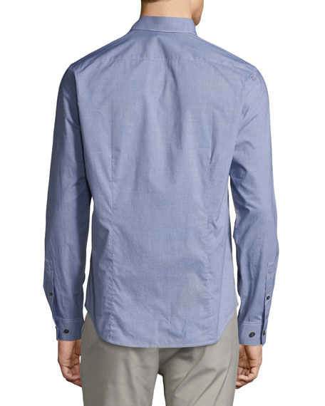 Sylvain Gingham Dobby Slim Shirt, Navy