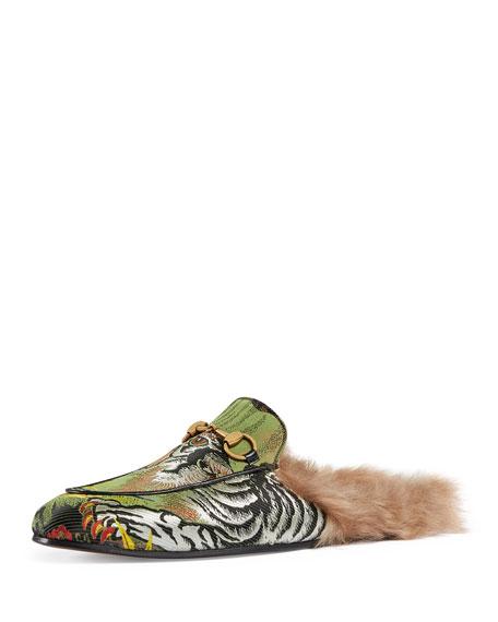 Gucci Princetown Tiger Jacquard Fur-Lined Slipper