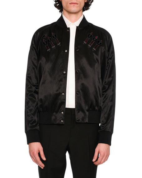 Love Blade Satin Bomber Jacket, Black