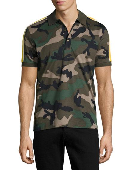 Camu Striped Cotton Polo Shirt, Green