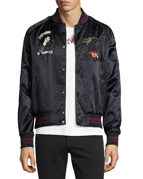 Valentino Embroidered Souvenir Bomber Jacket, Navy
