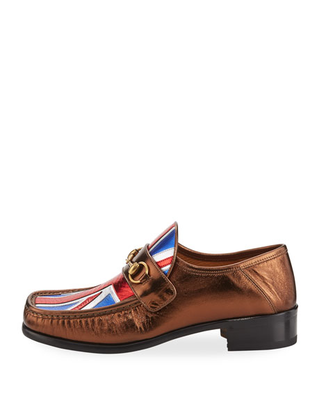 Vegas Union Jack Horsebit Leather Loafer, Bronze