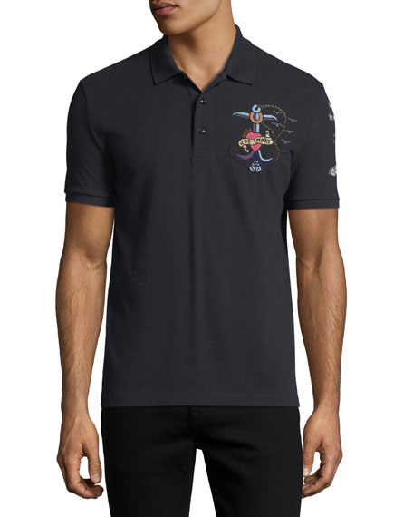 Tattoo-Embroidered Polo Shirt